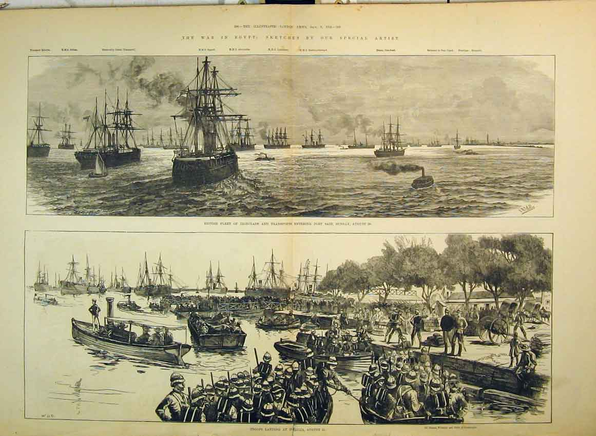Print 1882 War Egypt British Ships Port Said Troops Ismailia 245B349 Old Original