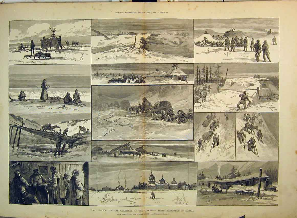 Print 1882 Search Jeannette Arctic Expedition Siberia Camping 249B349 Old Original