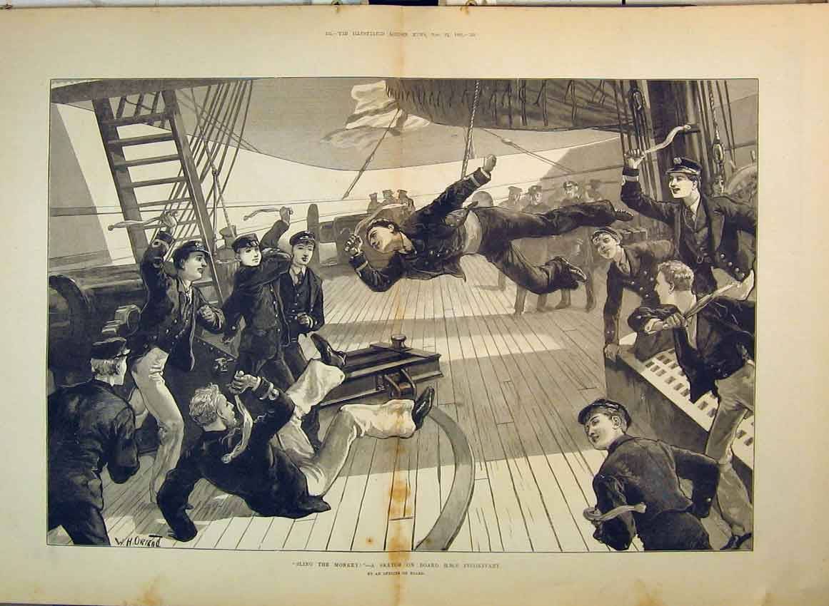Print 1882 Soldiers Playing Games On Board H. M. S Inconstant 250B349 Old Original