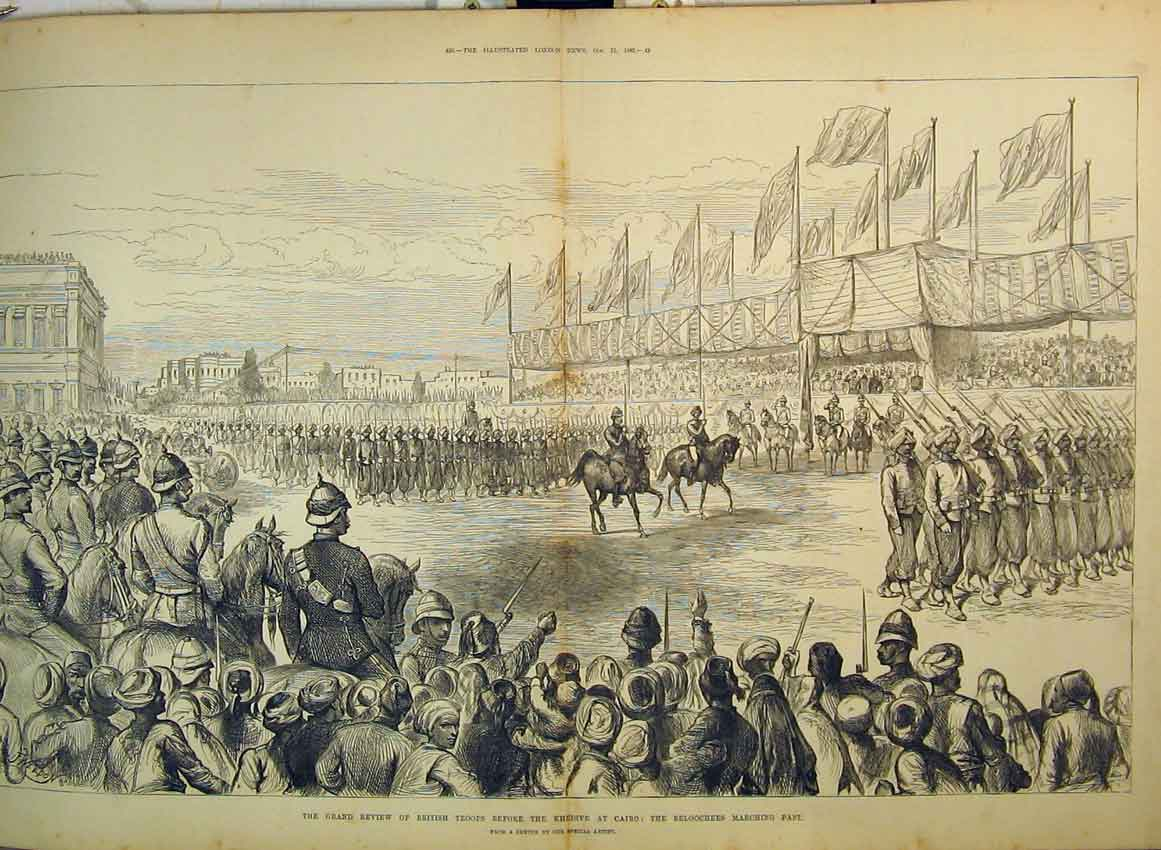 Print 1882 Review British Troops Khedive Beloochees Marching 253B349 Old Original