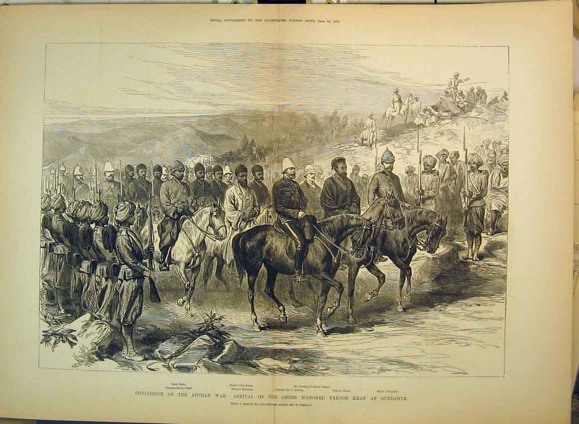 Print Afghan War 1879 Ameer Mahomed Yakoob Gundamuk Khan 255B349 Old Original