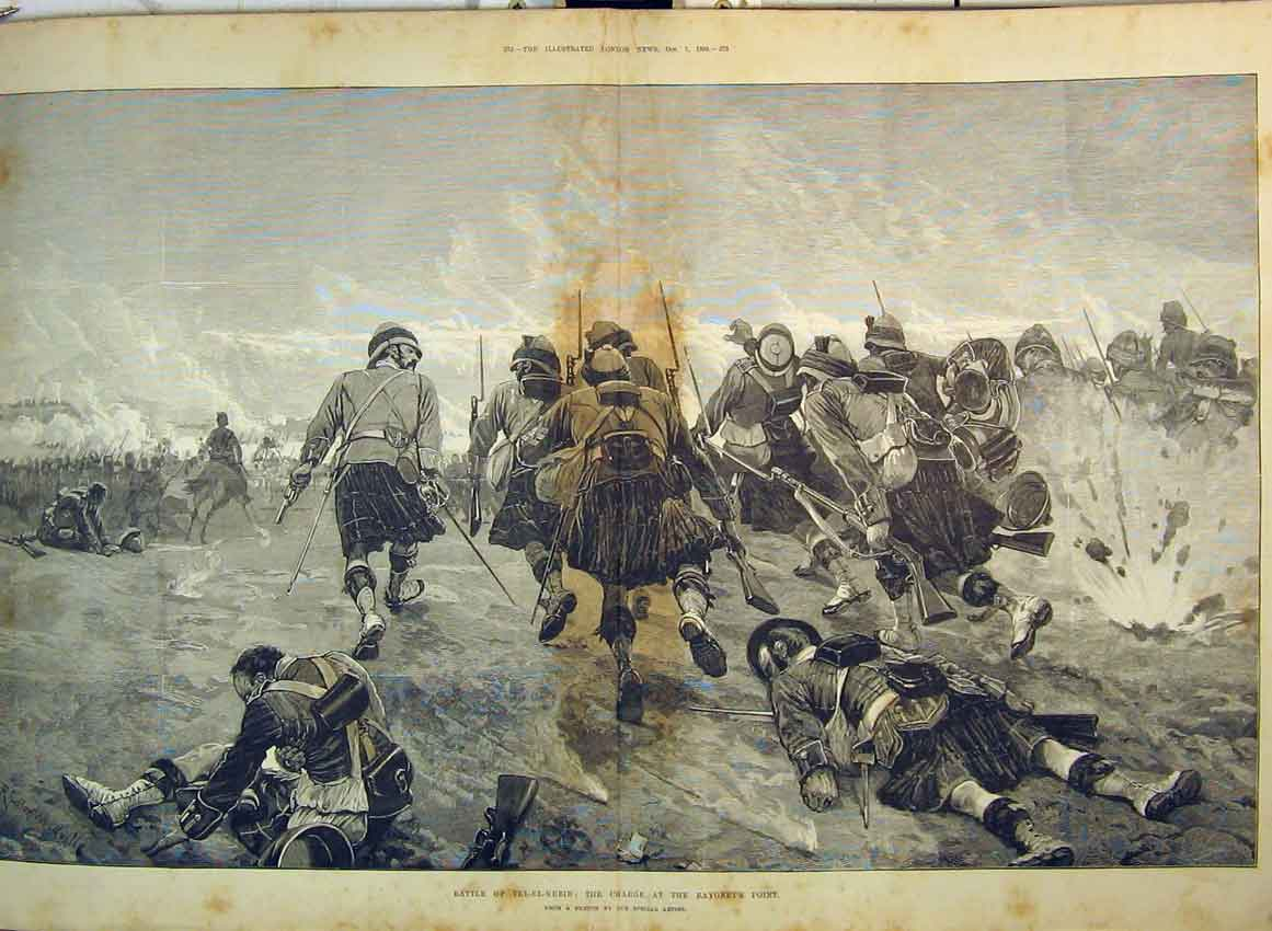 Print 1882 Battle Tel-El-Kebir Charge Bayonet Highlanders War 263B349 Old Original