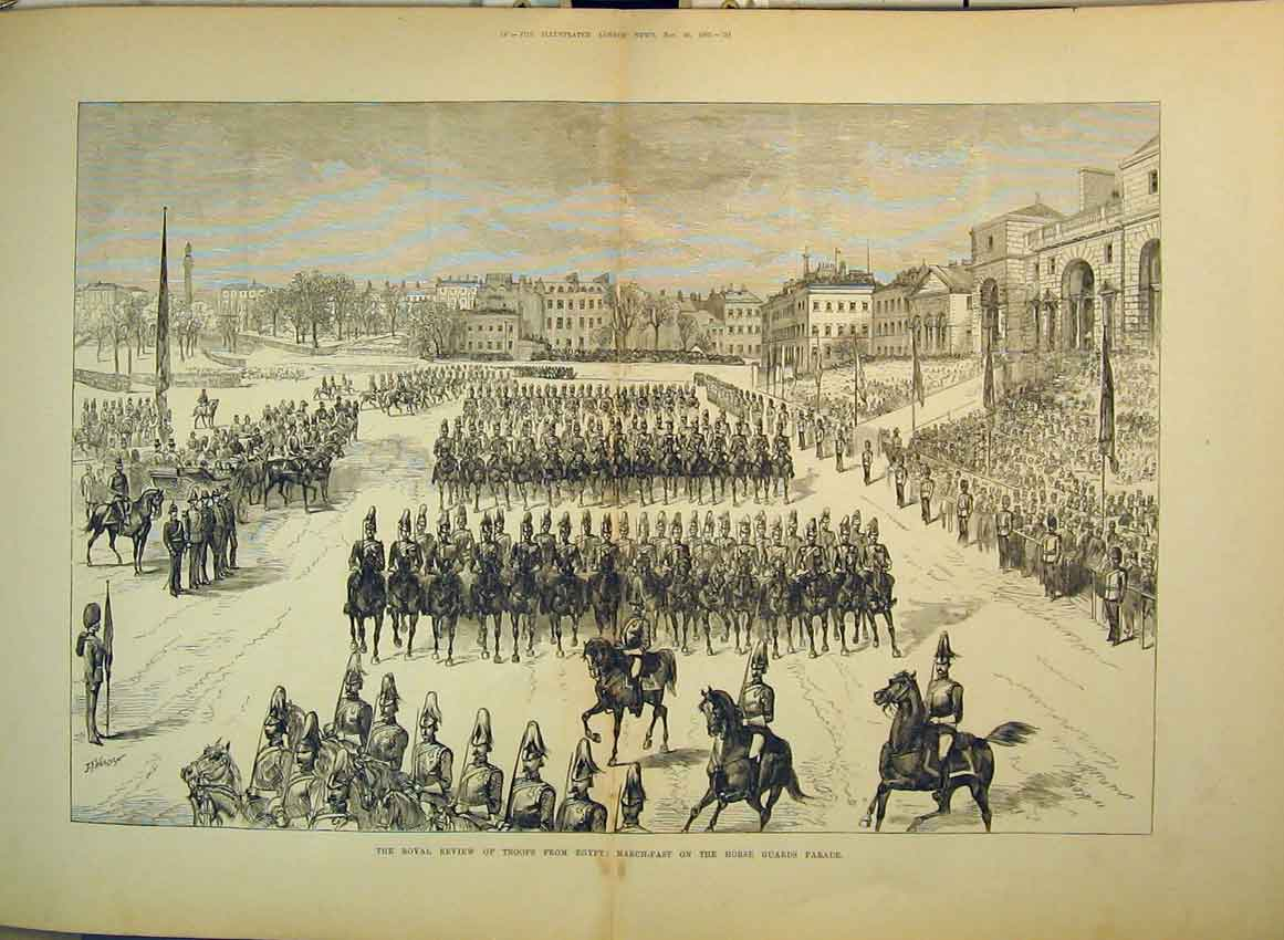 Print 1882 Royal Review Troops Egypt Horse Guards Parade War 265B349 Old Original