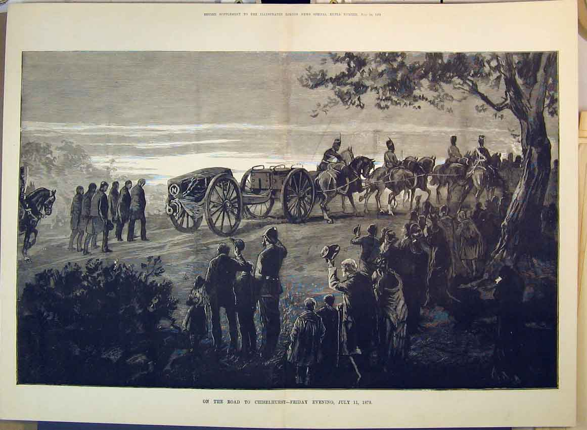 Print 1879 Horses Cart Coffin Chiselhurst Soldiers War Trees 272B349 Old Original