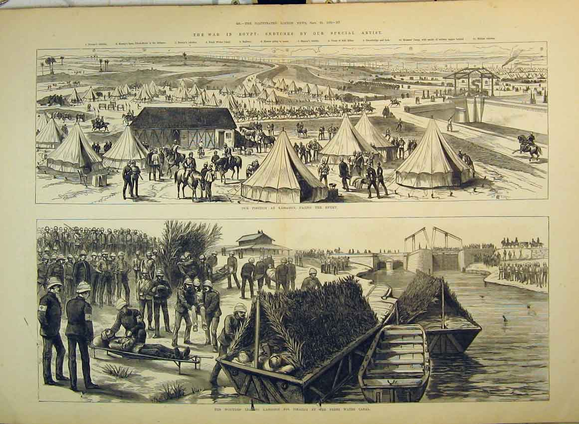 Print 1882 War Kassassin Canal Boat Camp Soldiers Injured 273B349 Old Original