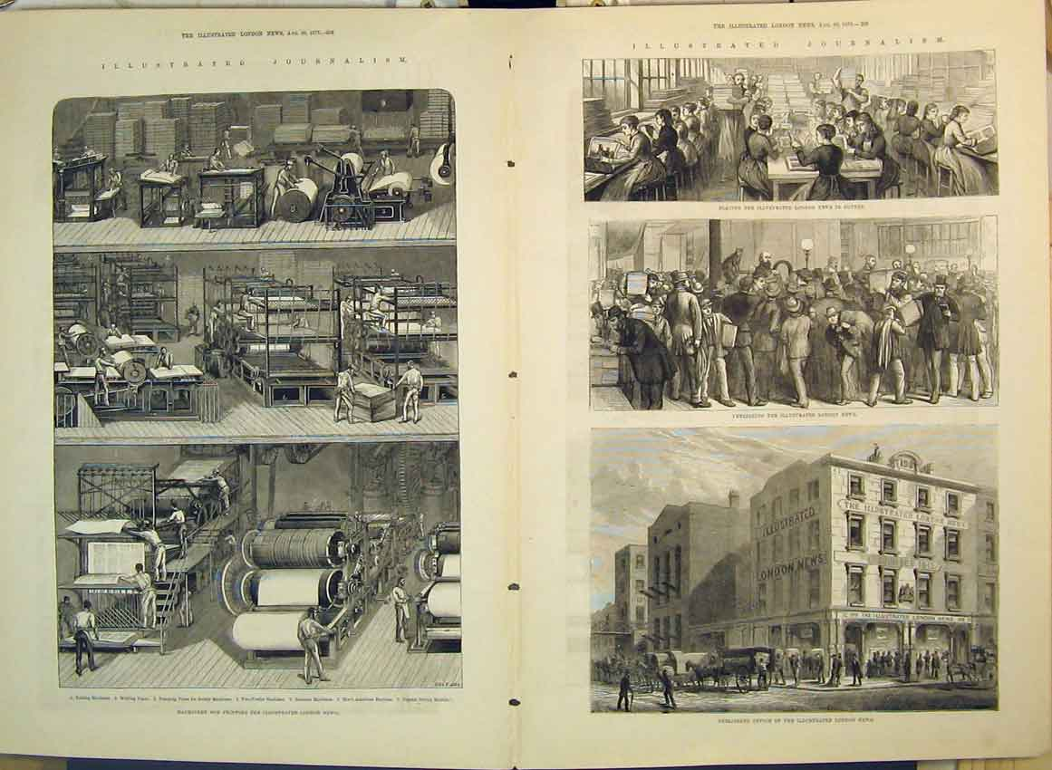 Print 1879 Ing Machine Publishing Office Journalism 274B349 Old Original