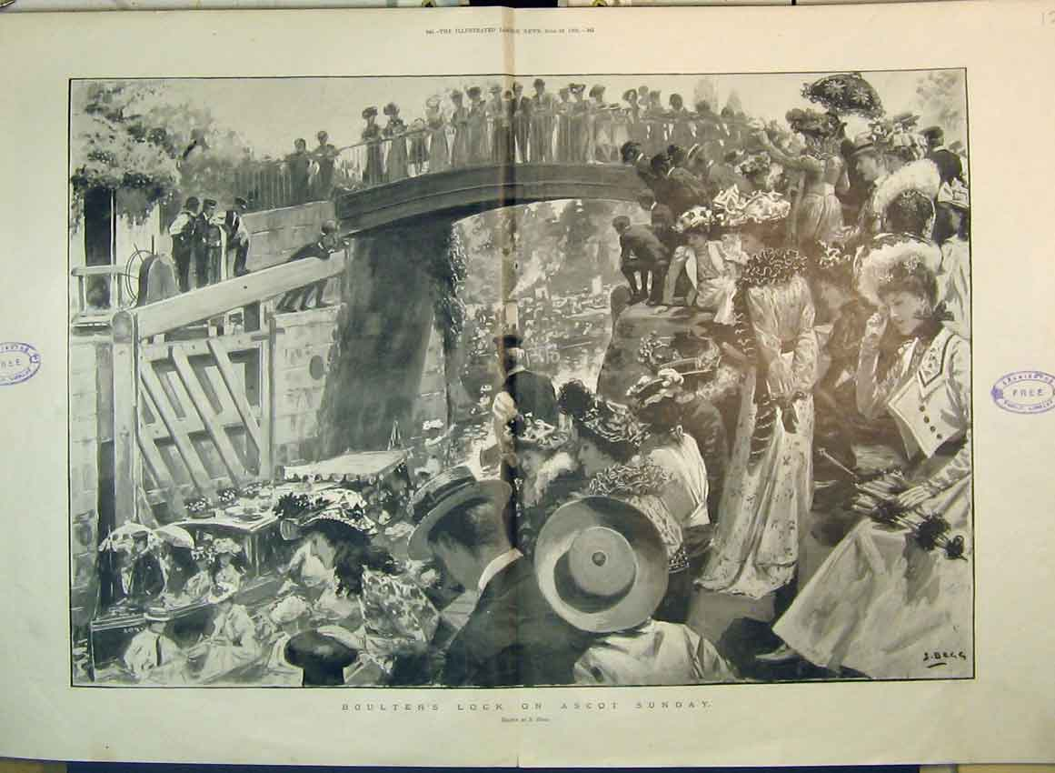 Print 1901 Boulter'S Lock Ascot Sunday Canal Boat Women Hats 277B349 Old Original
