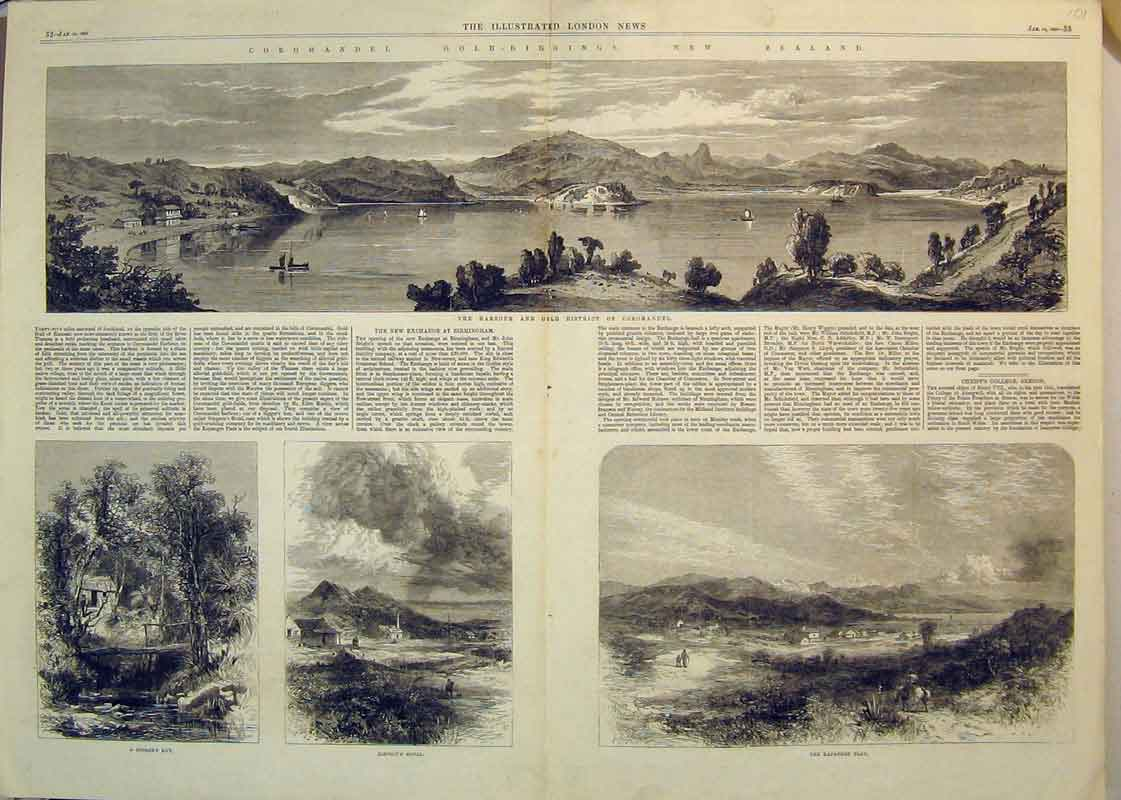 Print 1865 GNew Zealand Harbour Coromandel Hotel Hut 101B350 Old Original