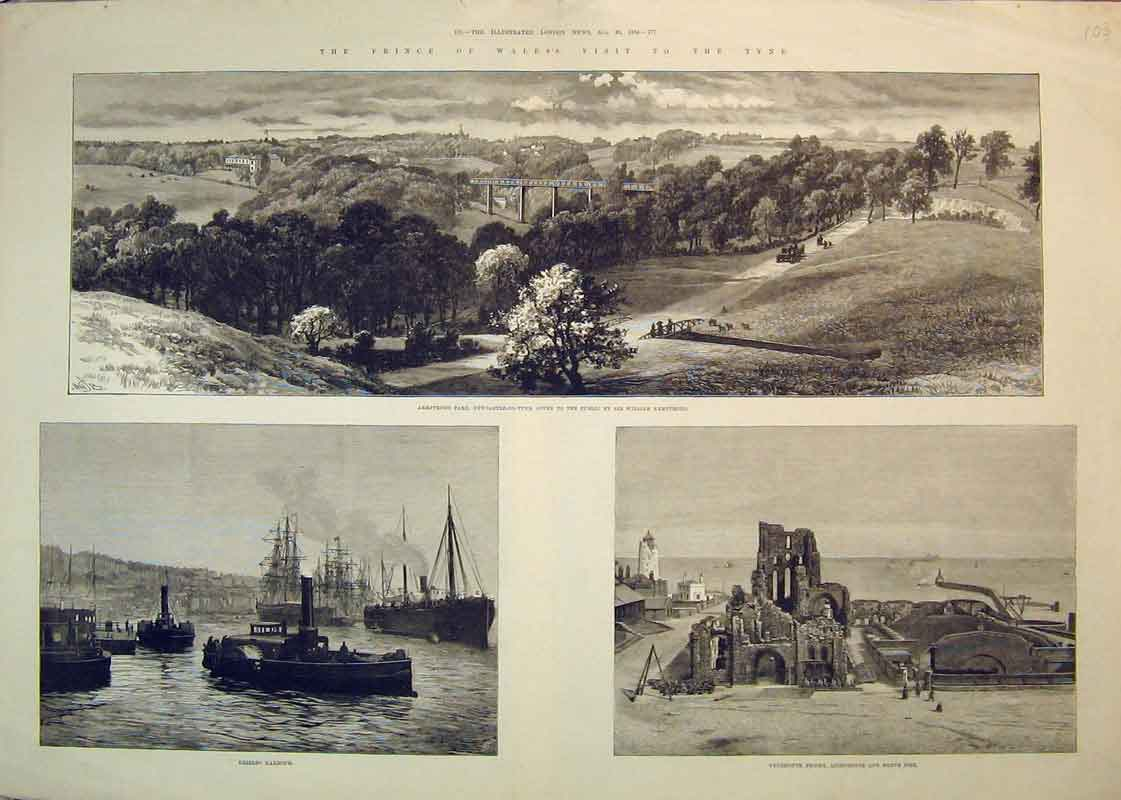 Print 1884Prince Wales Tyne Priory Lighthouse Shields Harbour 103B350 Old Original