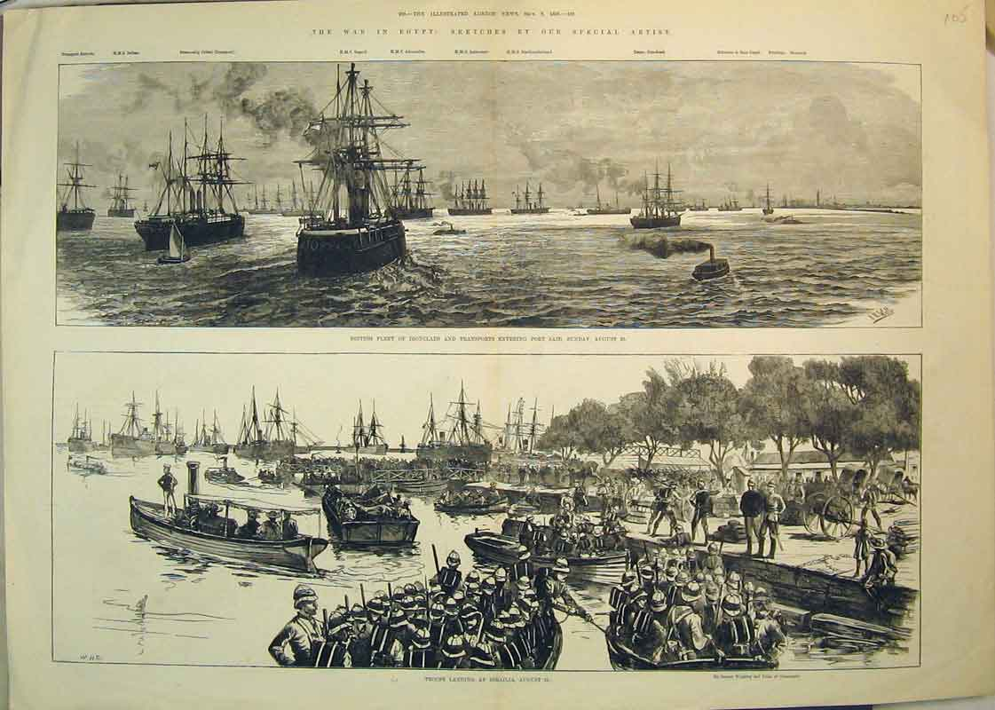 Print 1882 War Egypt Troops Ismailia British Ironclads Ships 105B350 Old Original