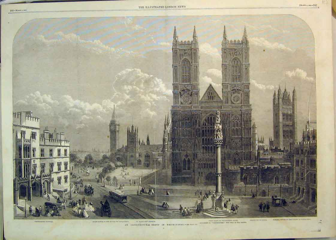 Print 1862 Westminster Church Abbey Parliament Monument 108B350 Old Original