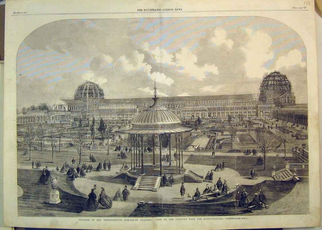 Print 1862 Horticultural Gardens International Buildings 110B350 Old Original