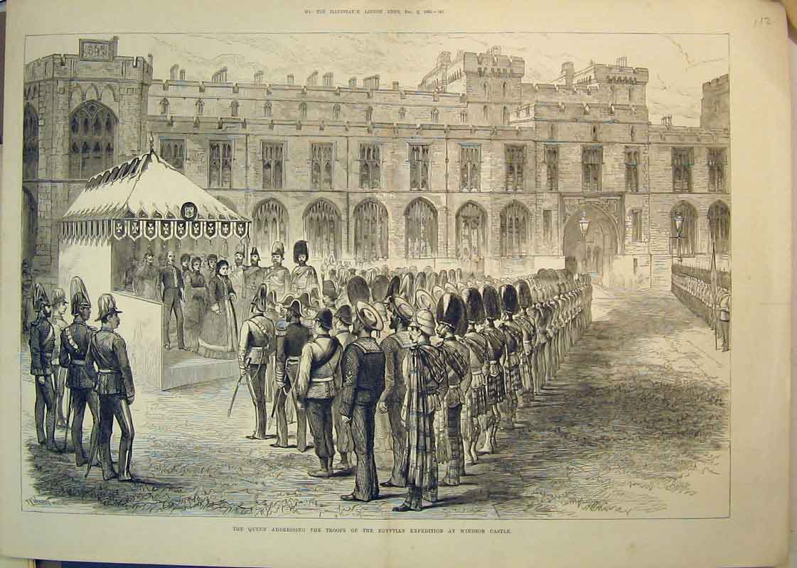 Print 1882 Queen Addressing Troops Egyptian Windsor Castle 112B350 Old Original