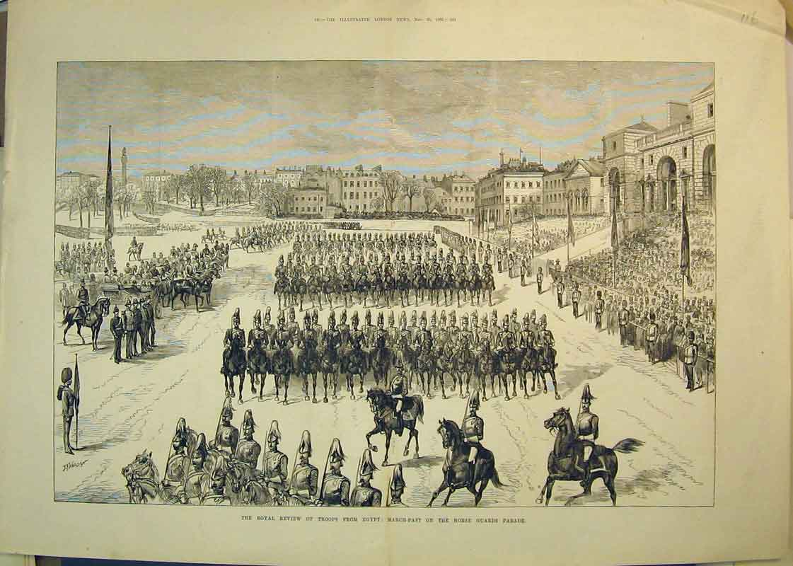 Print Royal Review Troops Egypt Horse Guard Parade 1882 War 116B350 Old Original