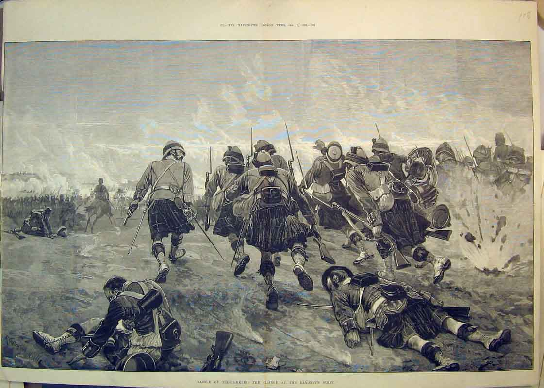 Print 1882 Battle Tel-El-Kebir Charge Bayonet'S Point War 118B350 Old Original