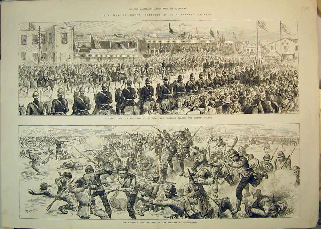 Print 1882 War Egypt Highland Infantry Tel-El-Kebir Khedive 119B350 Old Original