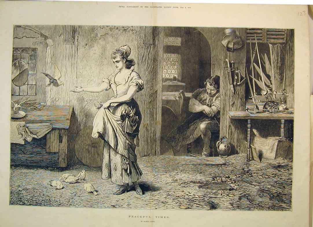 Print 1875 Woman Feeding Pigeons Man Sleeping 123B350 Old Original