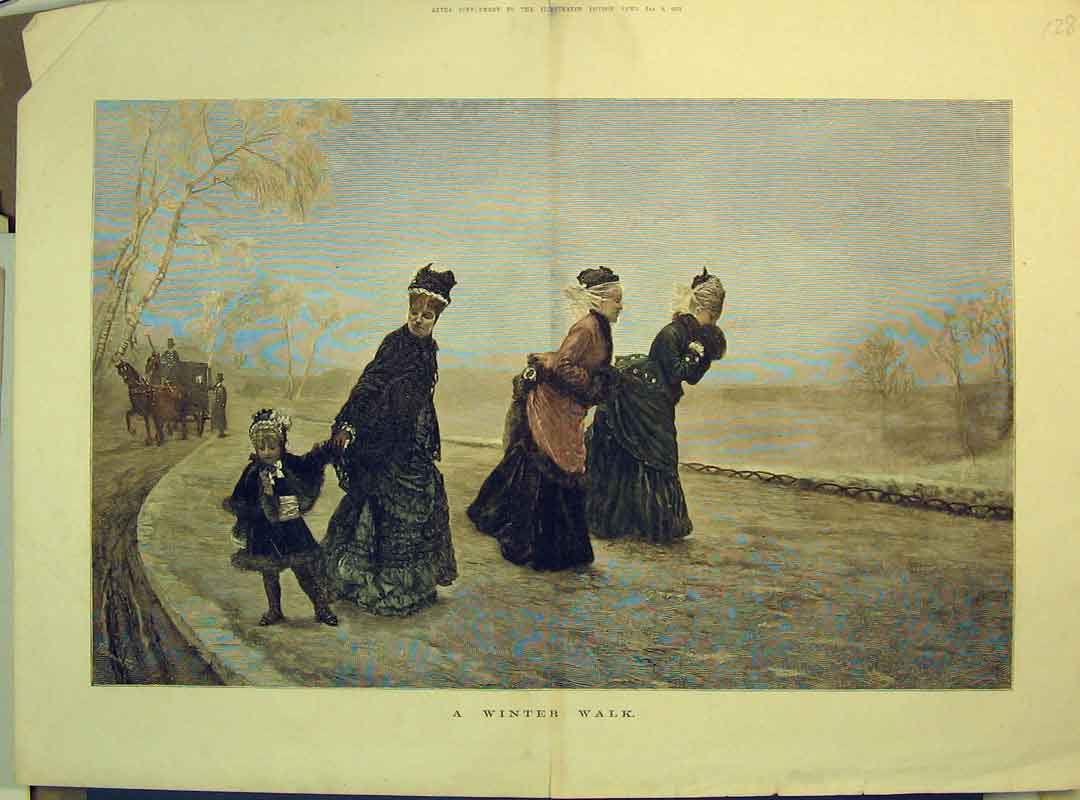 Print Winter Walk 1875 Women Children Horses Coach Trees 128B350 Old Original