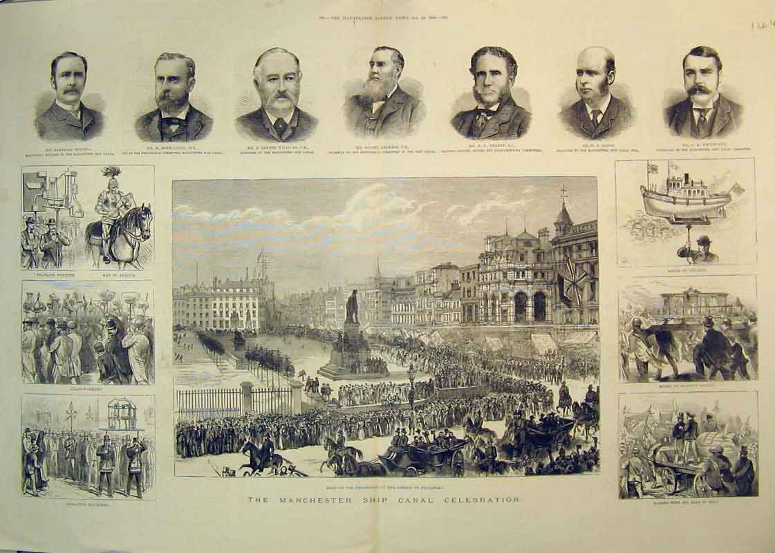 Print 1885 Railway Saloon Bakers Picadilly Procession Model 144B350 Old Original