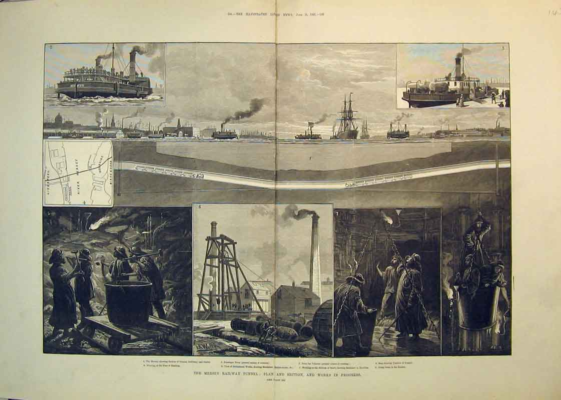 Print 1881 Mersey Railway Tunnel Passenger Ferry Birkenhead 145B350 Old Original