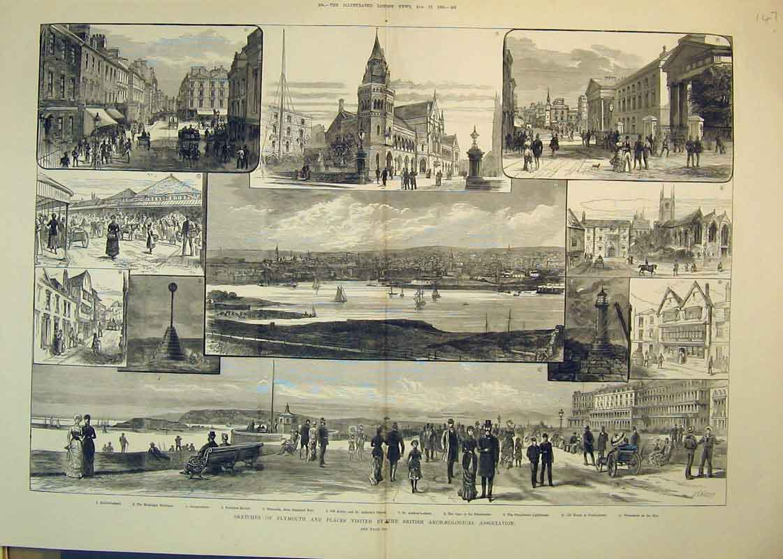 Print 1882 Plymouth Market Lighthouse Abbey Church Promenade 147B350 Old Original