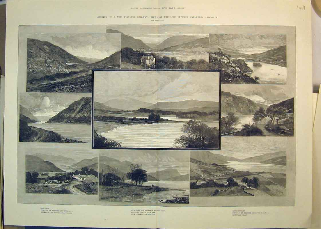 Print 1880 Railway Oban Train Loch Awe Glen Ogle Dochart Earn 149B350 Old Original