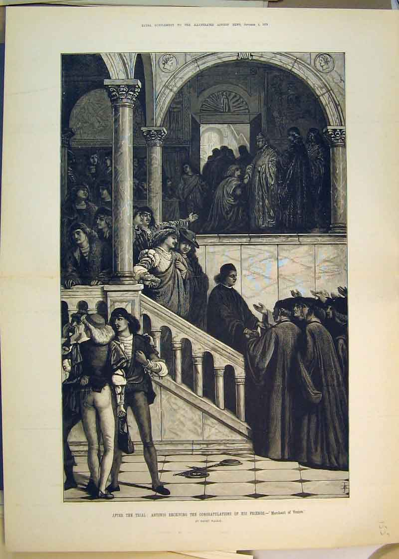 Print 1879 Antonio Receiving Congratulations Friends Trial 155B350 Old Original