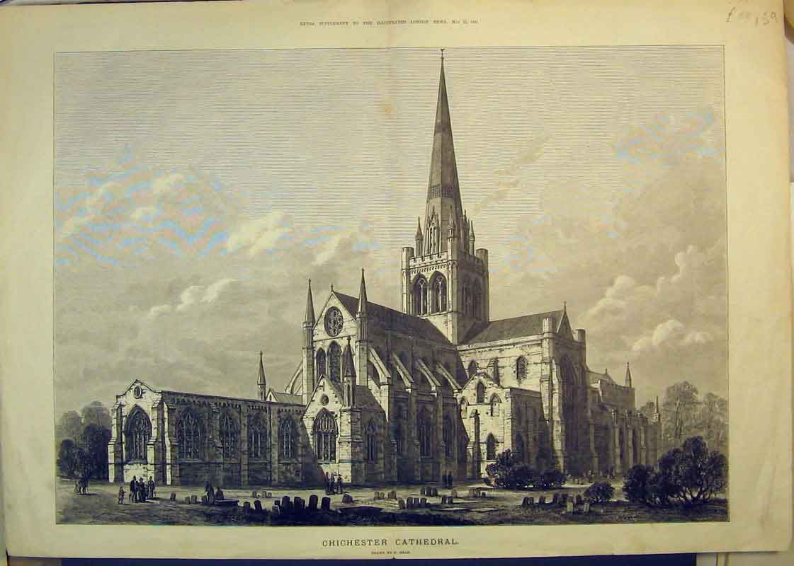 Print 1881 Chichester Cathedral Church Building Graveyard 159B350 Old Original