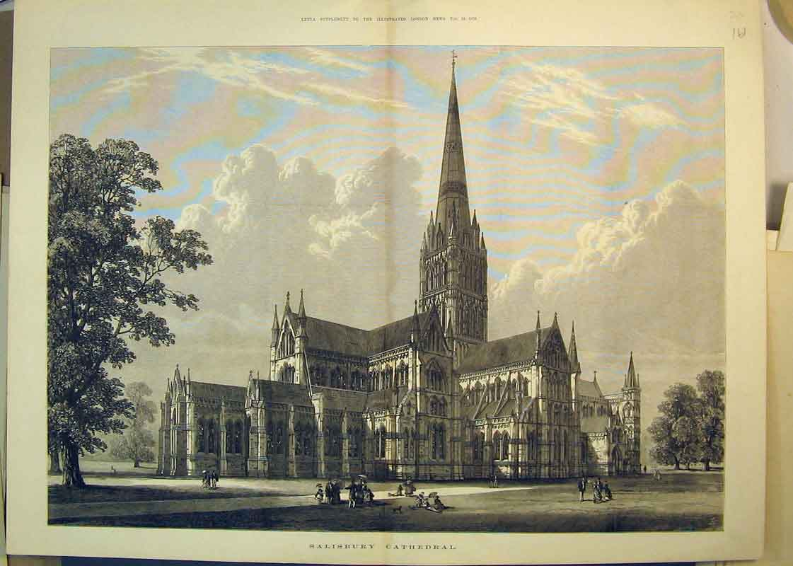 Print 1876 Exterior View Salisbury Cathedral Trees People 161B350 Old Original