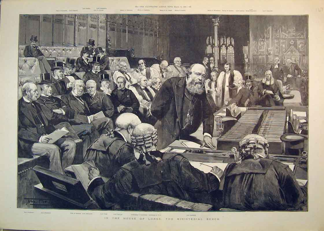 Print 1892 House Lords Ministerial Bench Salisbury Archbishop 168B350 Old Original