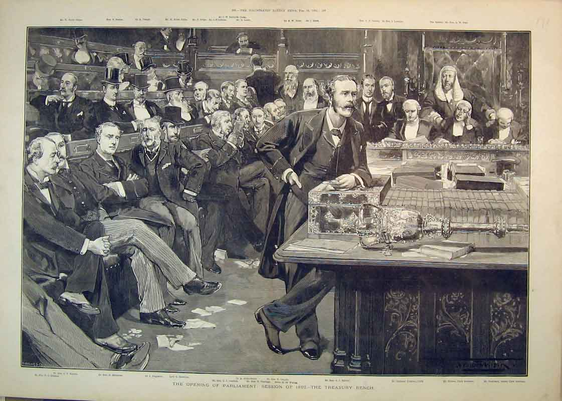 Print 1892 Opening Parliament Treasury Bench Stanhope Balfour 172B350 Old Original