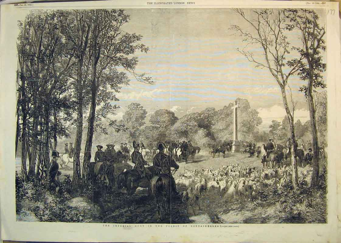 Print 1855 Imperial Hunt Forest Fontainebleau Horses Hounds 178Ab350 Old Original