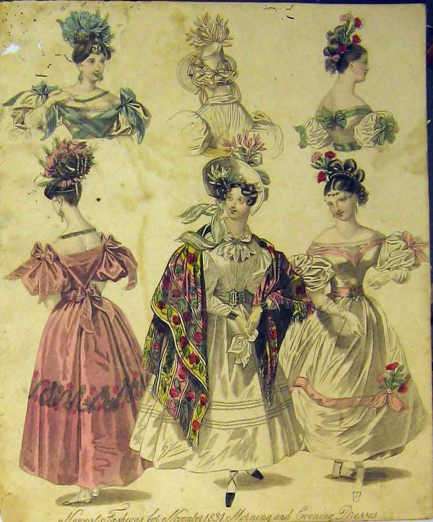 Print 1831 Womens Fashion Morning Evening Dresses Hats Colour 107B357 Old Original