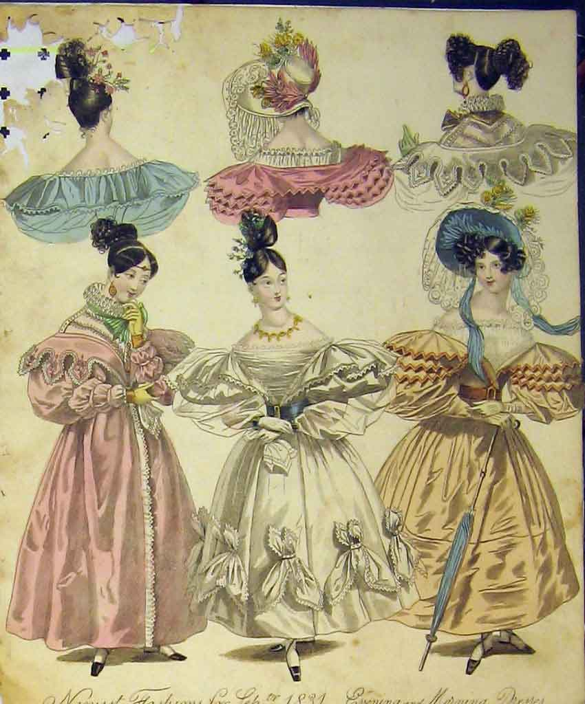 Print 1831 Womens Fashion Evening Morning Dresses Hats Colour 118B357 Old Original