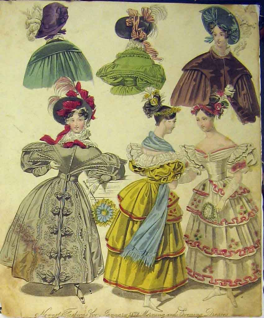 Print 1832 Womens Fashion Morning Evening Dresses Hats Colour 143B357 Old Original