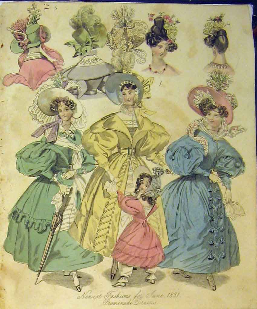 Print 1831 Womens Fashion Promenade Dresses Hats Colour 147B357 Old Original