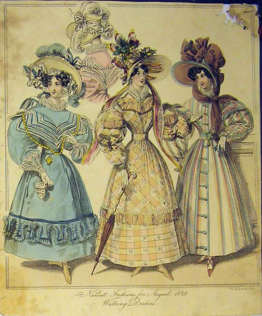 Print 1829 Womens Fashion Walking Dresses Hat Umbrella 177B357 Old Original
