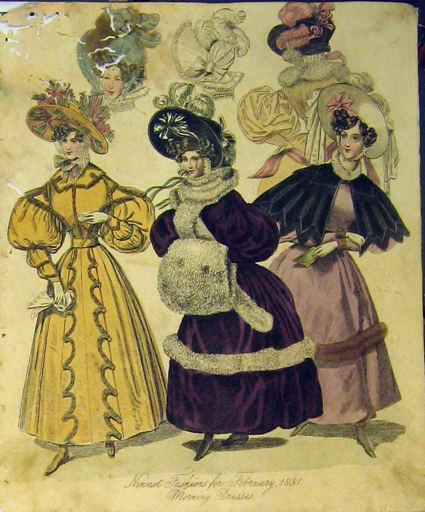 Print Womens Fashion 1831 Morning Dresses Hats Fur Colour 183B357 Old Original