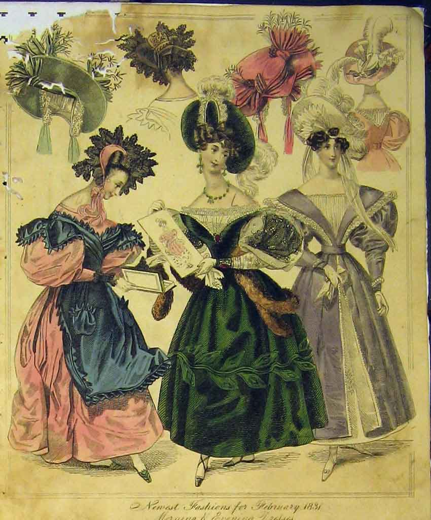 Print 1831 Womens Fashion Dresses Morning Evening Hats Colour 184B357 Old Original