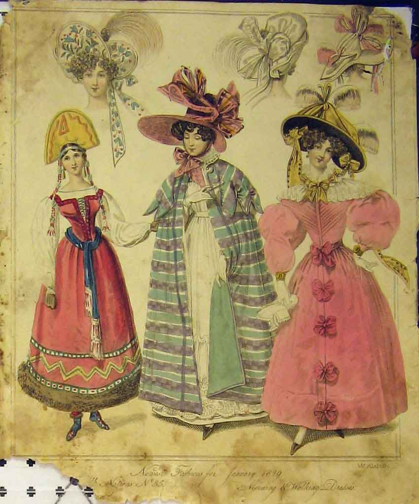 Print 1829 Womens Fashion Walking Dresses Costume Hat Colour 189B357 Old Original