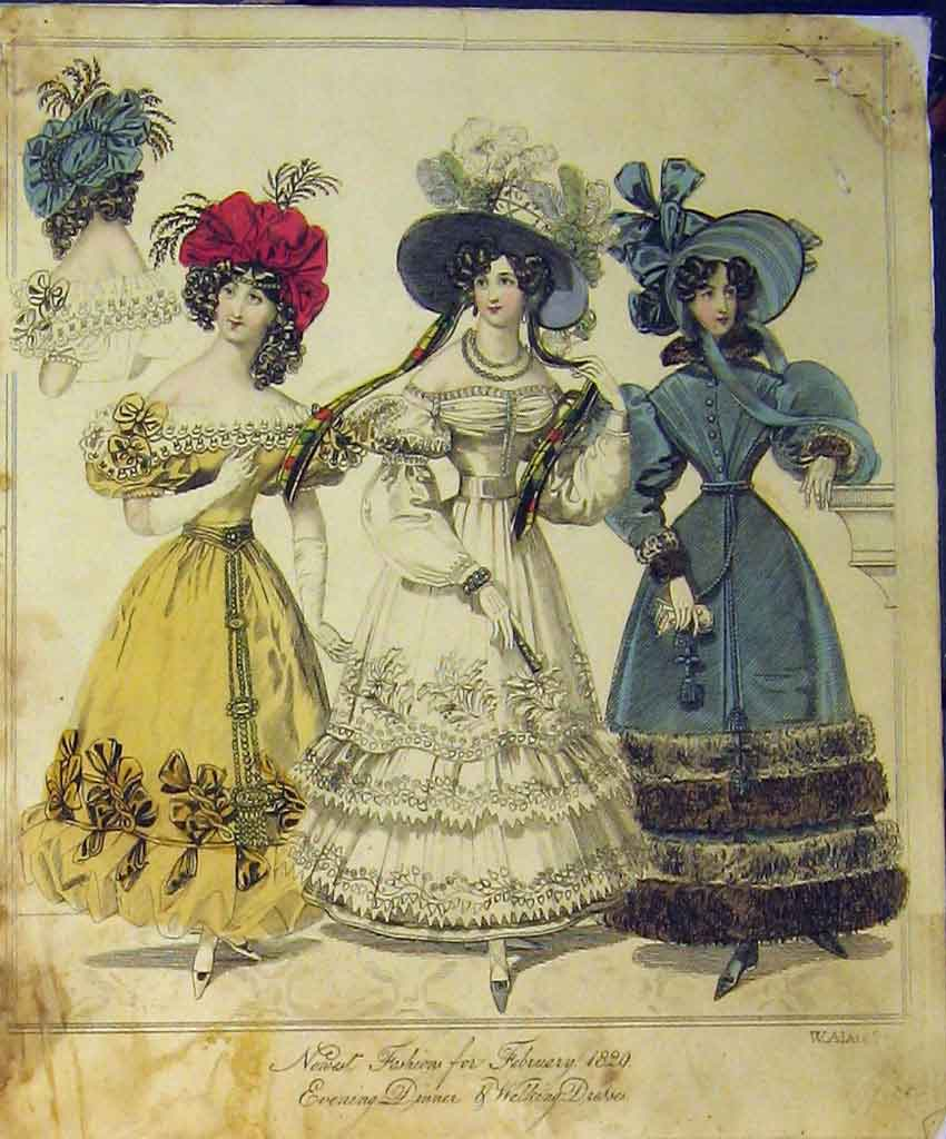 Print 1829 Womens Fashion Evening Dinner Dresses Walking Hat 193B357 Old Original