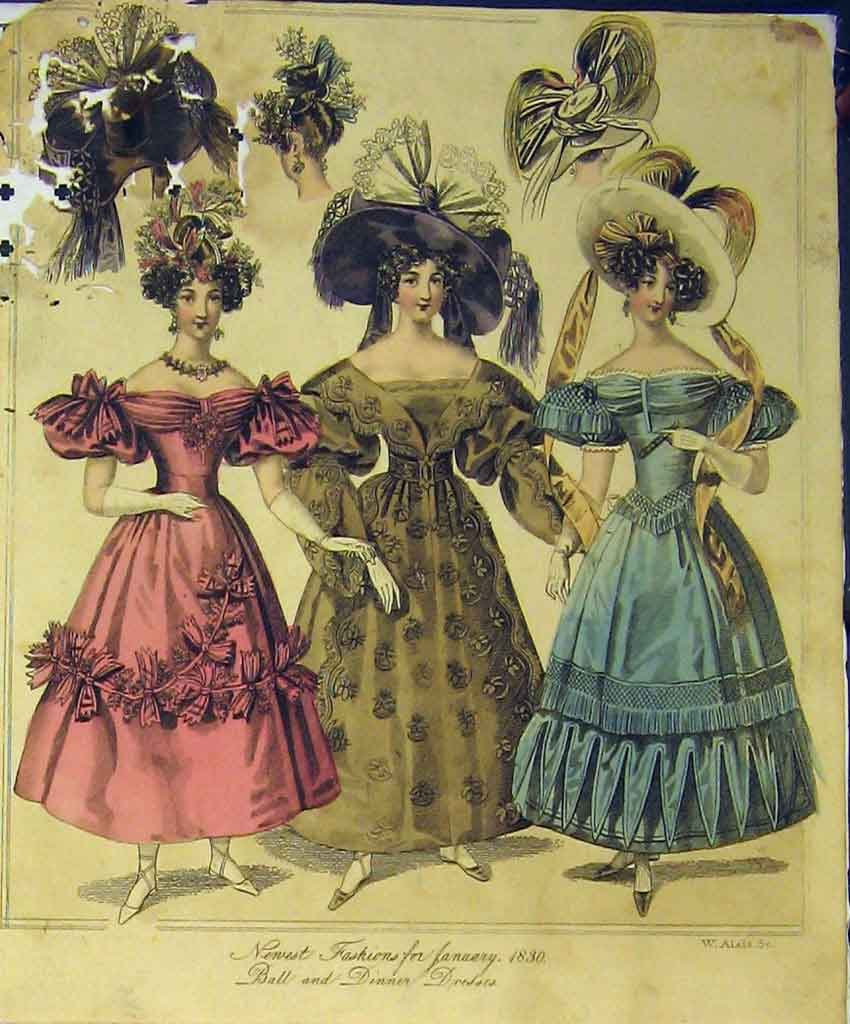 Print 1830 Womens Fashion Ball Dinner Dresses Hats Colour 215B357 Old Original