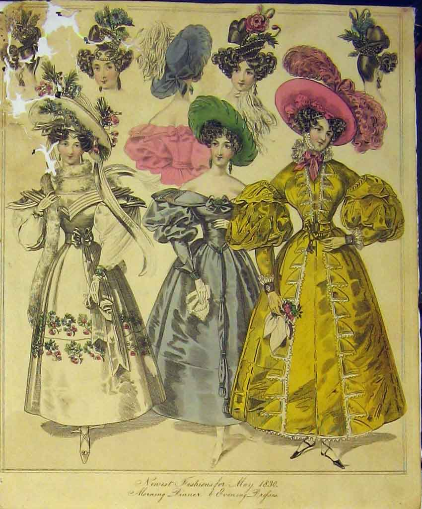 Print 1830 Womens Fashion Dresses Morning Dinner Evening Hats 229B357 Old Original