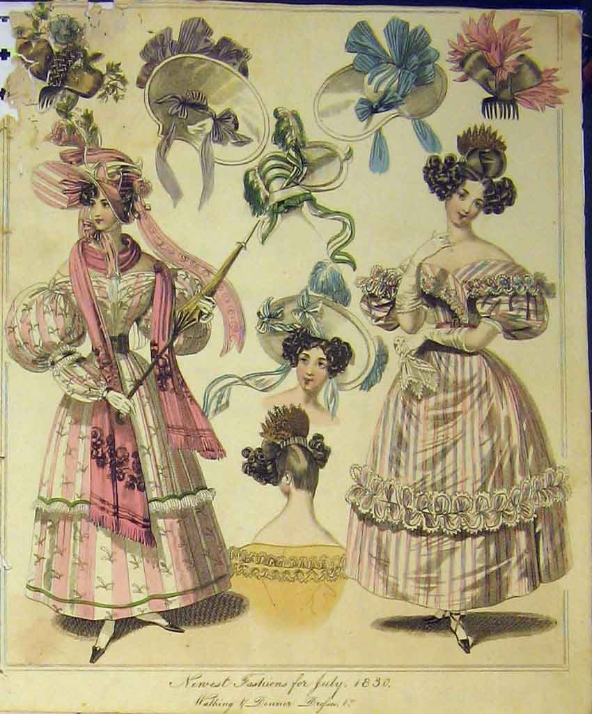 Print 1830 Womens Fashion Walking Dinner Dresses Hats Colour 239B357 Old Original