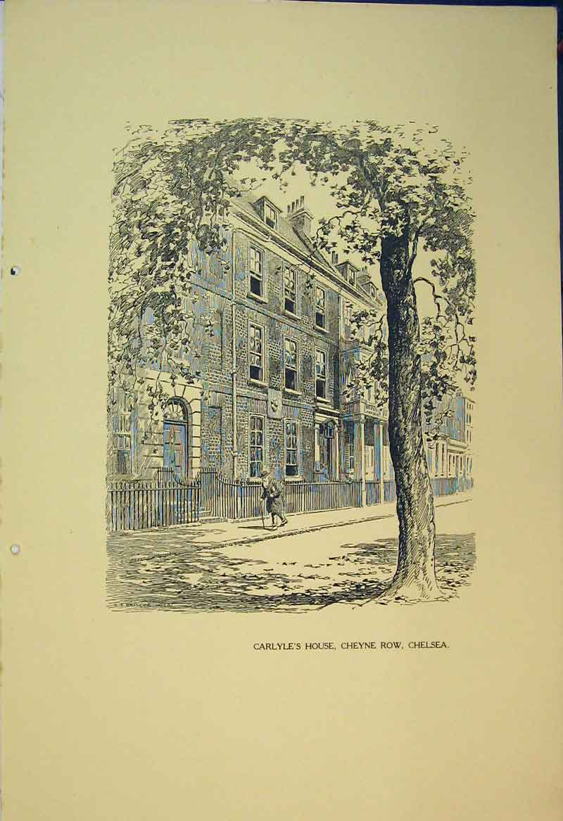 Print 1924 View Carlyle'S House Cheyne Row Chelsea Building 102B360 Old Original