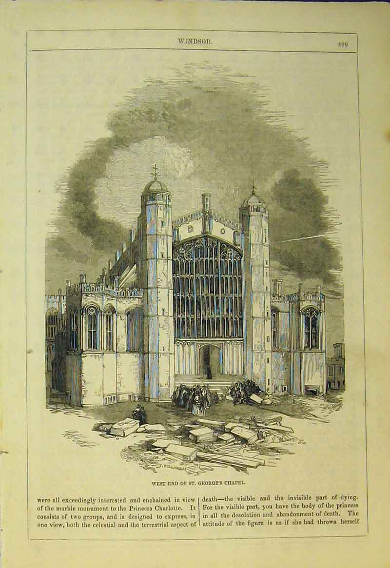 Print View West End St George'S Chapel Windsor England 555B361 Old Original