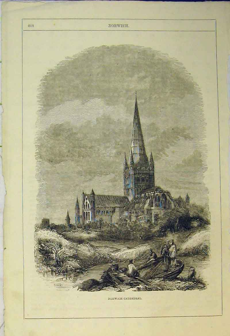 Print View Norwich Cathedral England Men Rowing Boat Trees 557B361 Old Original