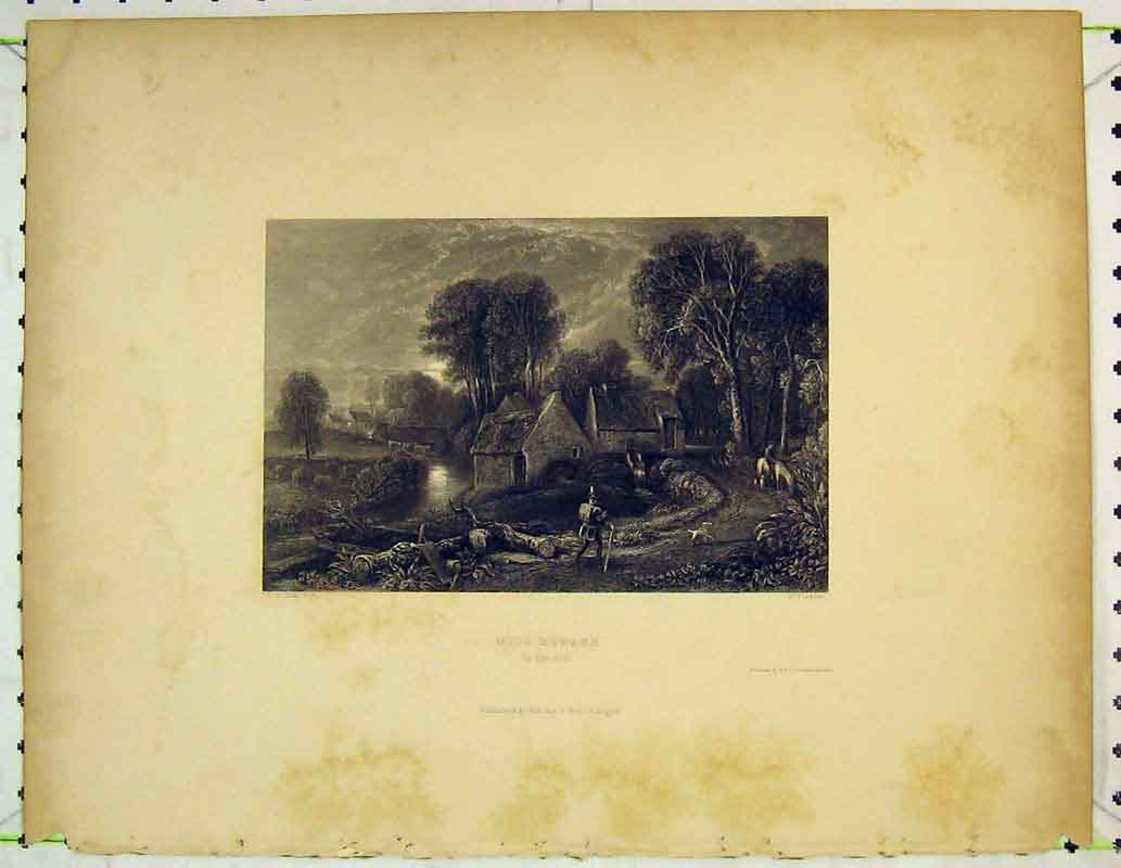 Print Country Scene Mill Monach Trees River Horse Man House 402B362 Old Original