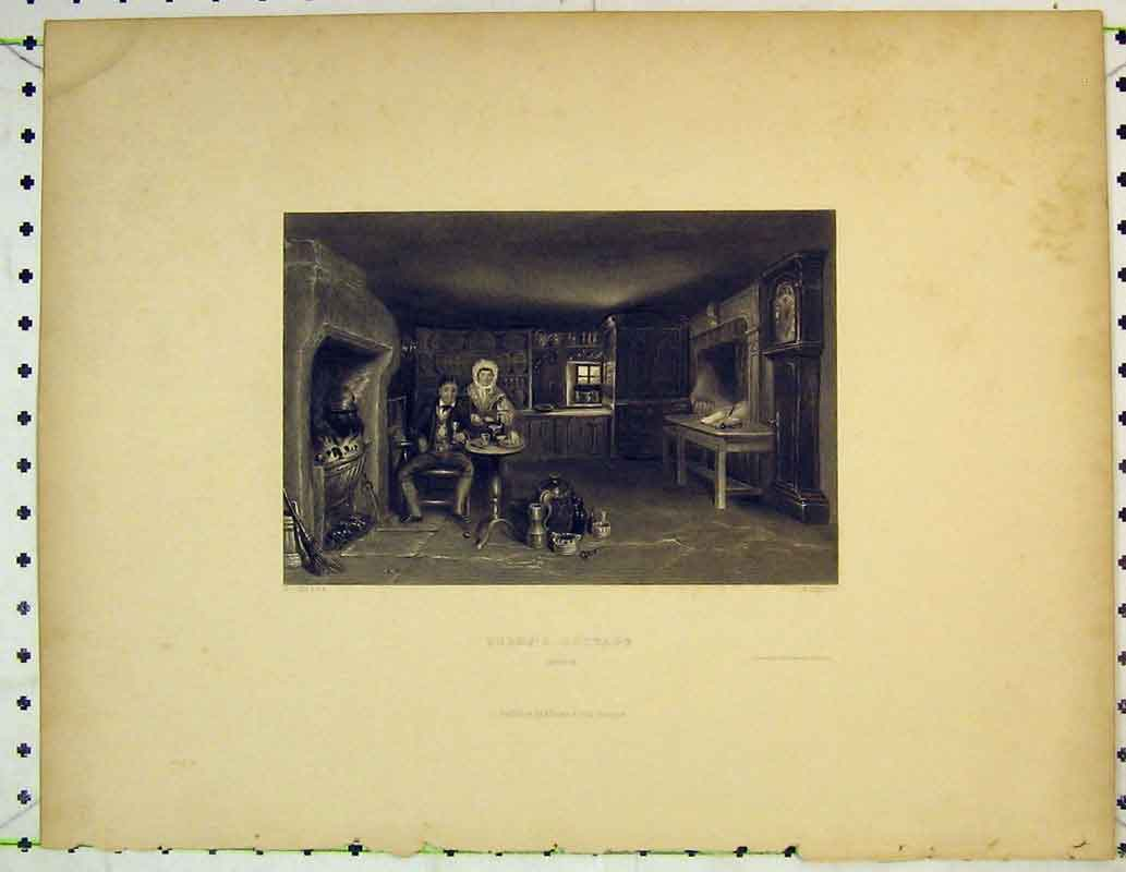 Print Interior View Burns Cottage Fire-Place House 405B362 Old Original