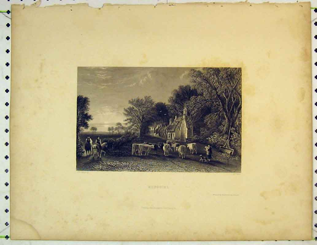 Print Country Scene Mossgiel Cows Horse Trees Man House 406B362 Old Original
